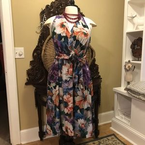 Leslie Fay 18W Floral Dress V-Neck